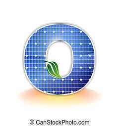 solar panels texture icon or symbol, alphabet capital letter O