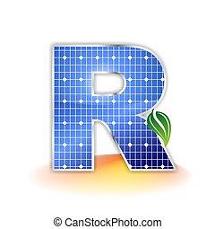 solar panels texture icon or symbol, alphabet capital letter R