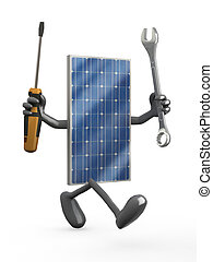 solar panel with arms, legs and tools on hands