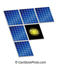 solar panel with battery vector illustration