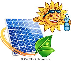 Blue solar energy panel surrounded by sun ray with green leaves above them smiling cartoon sun with sunglasses and bottle of water. Alternative energy and renewable resources concept