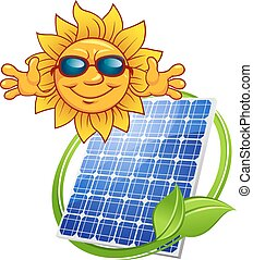 Solar panel with cartoon sun - Colored Solar energy panel...