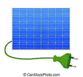 Solar panel with plug