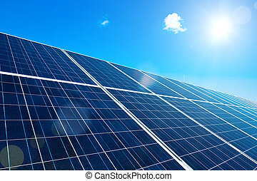 Solar Panel with Sun and Lens Flares and blue Sky