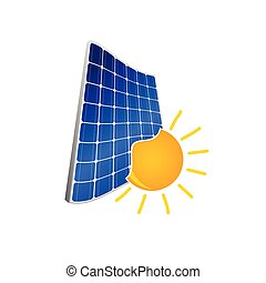 solar panel with sun color vector