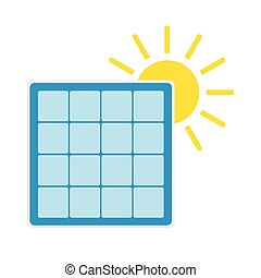Solar panel with sun icon. Renewable energy concept....