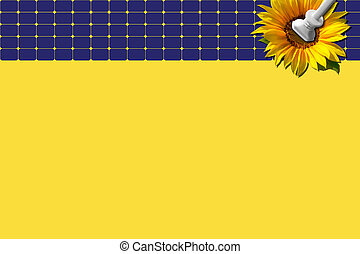Solar panel with sunflower and plug