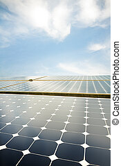 solar panels against a serene blue sky