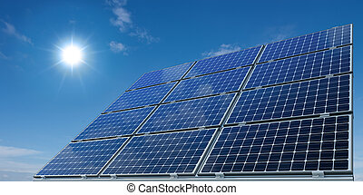 Solar panels against a sunny sky - mono-crystalline solar...