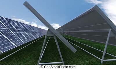 Solar panels against blue sky - Animation presenting solar...