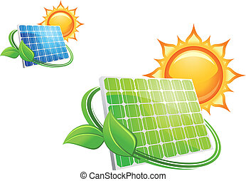 Solar panels and batteries for alternative energy concept