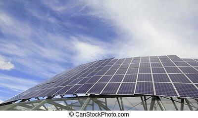 Solar Panels and Blue Sky Timelapse