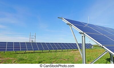 solar panels and rural landscape