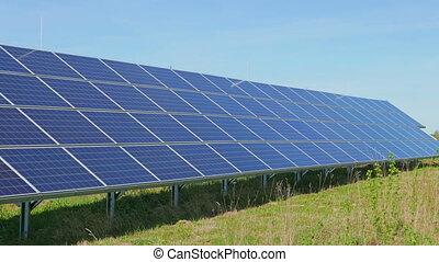 Solar panels and rural landscape