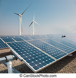 solar panels and wind power farm , new energy background