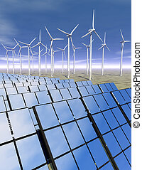 Solar panels and wind turbines in the desert - 3D rendered ...