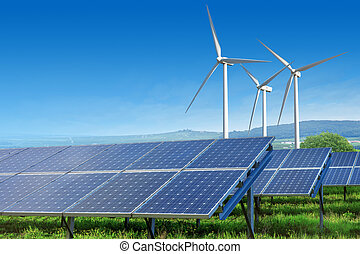 solar panels and wind turbines under blue sky
