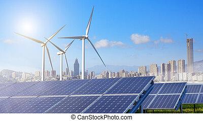 Solar panels and wind turbines with city
