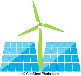 Solar panels and windmill of ecological energy  .