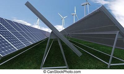Solar panels - Animation showing solar panels against blue...
