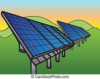 Solar Panels at Sunset Sky, hand-drawn illustration