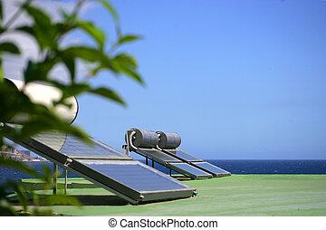 Solar panels by the coast