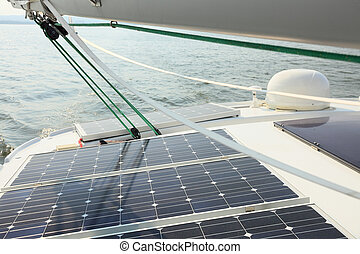 Solar Panels charging batteries aboard sail boat - Solar...