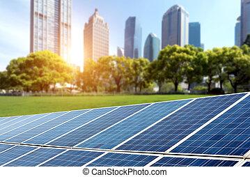 Solar panels cities - Shanghai Bund skyline landmark...