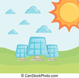 solar panels clean energy concept