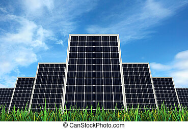 Solar panels - 3d render of Solar panels over sky backgrond