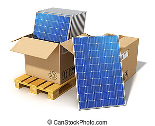 Creative solar power generation technology, alternative energy and environment protection ecology business concept: group of stacked solar battery panels packed in cardboard box on shipping pallet ready for installing and mounting isolated on white background Design is my own and all text labels are...