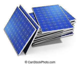 Creative solar power generation technology, alternative energy and environment protection ecology business concept: group of stacked solar battery panels ready for installing and mounting isolated on white background