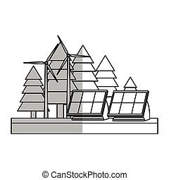 solar panels design - forest with solar panels and eolic...