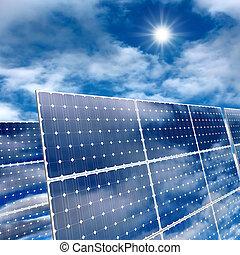 Solar panels - Very high resolution 3d rendering of solar...