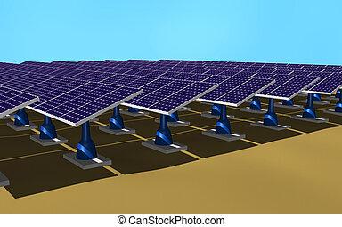 Solar panels - Illustration 3d of a set of solar panels on...