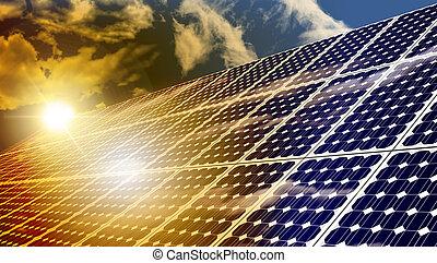 Solar Panels - Solar panels absorbing the suns energy on hot...