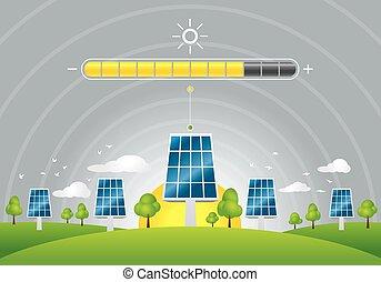 Solar panels energy charging - Illustration of solar panels...