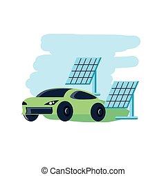 solar panels energy with car sedan