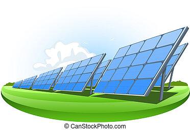 Solar panels, vector illustration