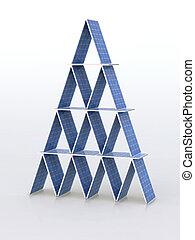 solar panels fly 3d illustration