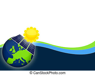 Solar panels - Illustration of solar panels cells for...