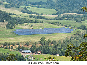 Solar panels in a meadow