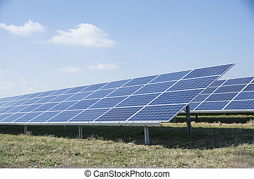 Solar panels in a solar energy park