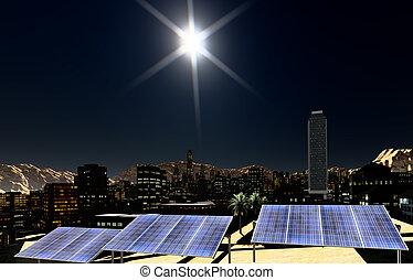 Solar panels in city - Solar panels in the city