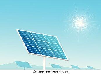 Solar panels in farm with blue sky and sun light