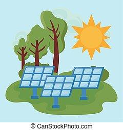solar panels in landscape nature