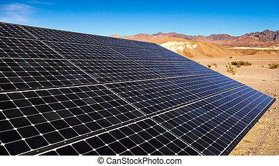 Solar Panels in Mojave Desert - Solar panels soak up the sun...
