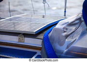 solar panels in sailboat. Renewable eco energy