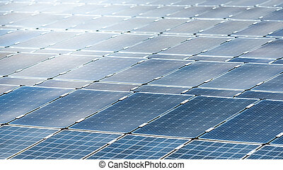 Solar panels in solar power plant