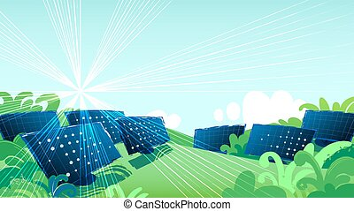 Solar panels in the green fields illuminated with the sun.